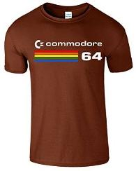 Commodore 64 80s Computer Logo T-shirt Brown
