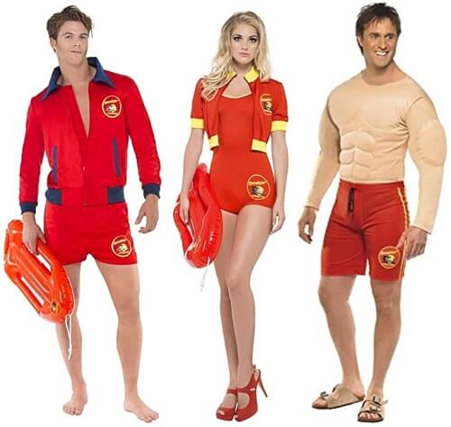 Brand New Baywatch Muscles Lifeguard Swim Suit Adult Costume