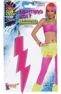 Pink Lightning Bolt Earrings for 80s Costume