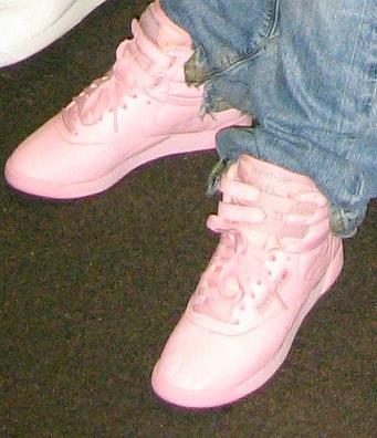 A pair of pink Reebok Freestyle hi-tops (original 1980s photo)