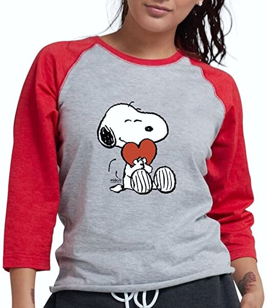 Snoopy Loveheart Baseball T Shirt for Women